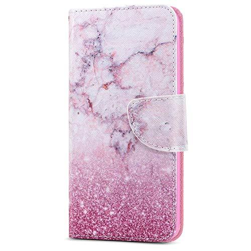 LEMAXELERS Carcasa iPhone 8 Plus / 7 Plus,Funda iPhone 8 Plus Carcasa Flor de Mariposa Pintura de Dibujo de Tipo Libro con Ranuras Tarjetas de Soporte Solapa con Cierre magnético Case,HX Pink Marble