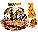 FANCYINN bebé niñas mi Primer Traje de Halloween Calabaza de Manga Larga Mamelucos Falda tutú + Diadema + Calentador de piernas + Zapatos 4 Piezas