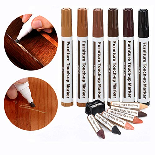 Furniture Repair Wood Repair Markers Touch Up Repair Pen-Markers and Wax Sticks,for Stains,Scratches,Wood Floors,Tables,Carpenters,Bedposts (13 Furniture Markers)