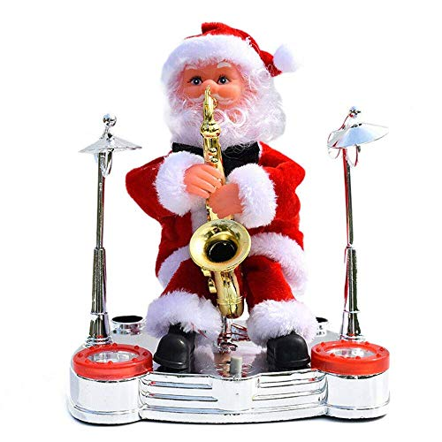 Electric Santa Claus Doll Playing Musical Instrument Toy, Santa Claus Plush Toys Xmas Electric Moving Figure Dolls, Christmas Holiday Decor for Children Kid Saxophone