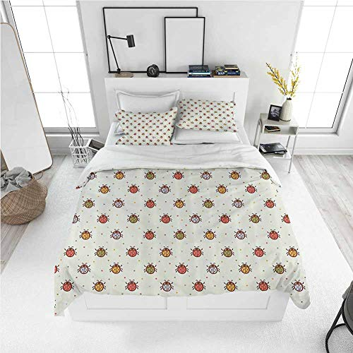 Modern Duvet Cover Ladybugs Decorations,Pastel Color Vintage Stylized Faded Bugs Setting Nostalgic Good Luck Childhood Theme,Multi Best Modern Style Bed Quilt Bed Cover for Men Women (Twin)