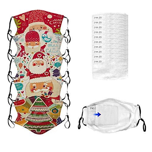 Reasoncool Erwachsene Weihnachtsmann Drucken Bandana Wiederverwendbare Waschbare Verstellbar Sonnenschutz 5 PCS Weihnachten Sturmhaube mit 10 Filters