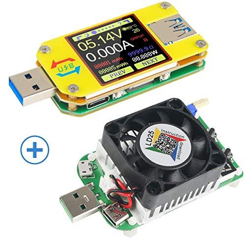MakerHawk UM34C USB 3.0 Multimeter Bluetooth USB Voltmeter Ammeter and USB Electronic Load Tester Resistor USB Voltage Current Battery Power Capacity Charger Temperature Load Meter Tester