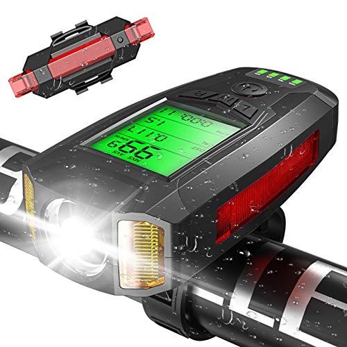 VLVEE USB Wiederaufladbare Fahrradlicht Set, Fahrradlampe Frontlicht Rücklicht, Fahrradlichter mit Fahrrad Tacho für Mountainbike Rennräder (schwarz)