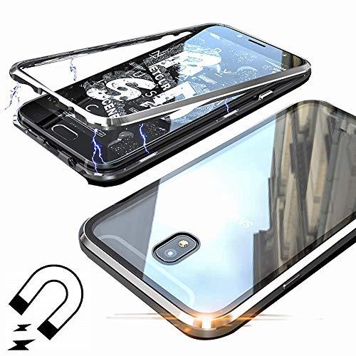 Funda de Adsorción Magnética Compatible con Samsung Galaxy J7 2017,+[1 *Protector de Pantalla] Cubierta Trasera de Vidrio Templado Ultra Delgado Metal Bumper Case Cover