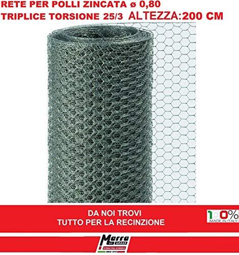 25 mt RETE 25/3 ø 0,8 H 200 cm POLLI ZINCATA RECINZIONE TRIPLICE TORSIONE GALLINE POLLAIO MARRA EDILE MARRAGROUP
