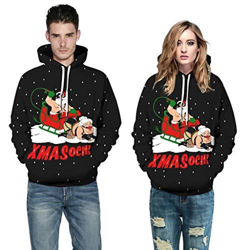 Jkhhi Longsleeve Hoodie Kapuzenpullover Weihnachten Fashion Freizeit Schlitten 3D Drucken Unisex Pullover Spleißen Sweatshirt Oberteil Blouse Tops Outwear Drawstring Tasche
