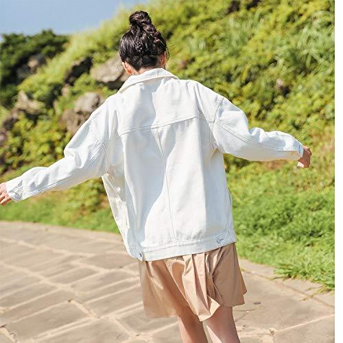NZJK dames jeansjas mantel witte jeans jas casual windjack vintage zakmantel vrouwelijk losse outwear mode revers tops