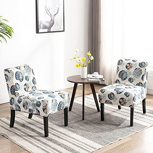 Artechworks Linen Armless Accent Occasional Leisure Slipper Lounge Chair Set of 2,Modern Side Dining Chair Wooden legs Washable Covers for Bedroom,Living Room,Home Office,White with Blue Floral