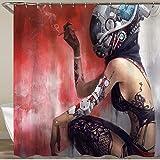 VANKINE Shower Curtain,Cyborg Fantasy Helmet Robot Tattoo Technics,Waterproof Machine Washable Fabric Bathroom Decor Home Dorm Bathtub Curtains Hooks Included 72'x72'