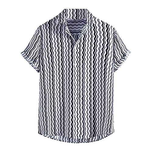 Camisa hawaiana para hombre, camisa de playa hawaiana de manga corta, camisa de verano fresca, camisas de vacaciones, corte ajustado, cuello de camisa B blanco XL