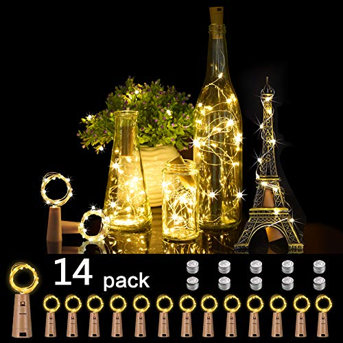 Opard Bottle Lights with Cork 14 Pack Battery Operated Copper Wire Wine Bottle Lights Warm White for Indoor Outdoor Christmas Parties Wedding Decoration