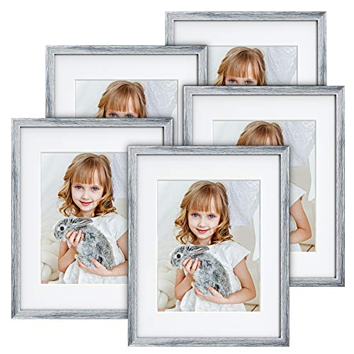 MONINXS 8X10 Picture Frames Set of 5, Display Photos 5X7 with Mat or 8X10 without Mat for Tabletop or Wall Mounting Display, light Grey MNPF01G