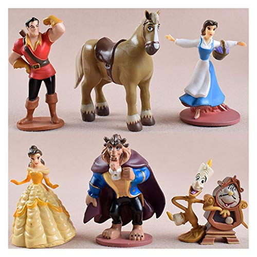 Modelo 6pcs de Dibujos Animados La Bella y la Bestia Acción Figura Modelo Animado Mini decoración colección de figurillas Juguetes Regalos for niños (Color : 6 pcs)