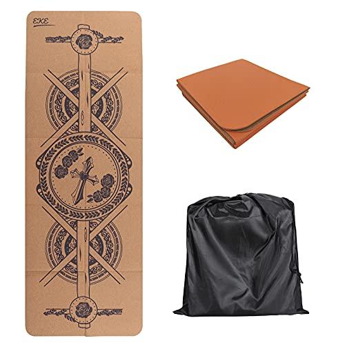 EKE Esterilla plegable de corcho para yoga con líneas de alineación, superficie...