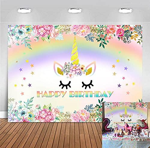 BINQOO 2,1 x 1,5 m Toile de Fond Licorne Rose Floral Licorne Arc-en-Ciel Baby Shower Enfants Fête d'anniversaire Photographie Fond