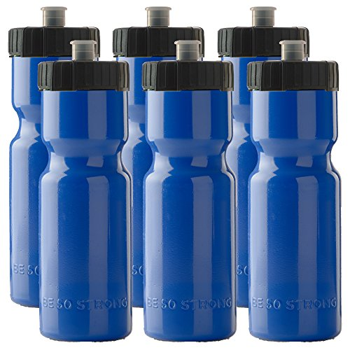 50 Strong Sports Squeeze Water Bottles - Set of 6 - Team Pack – 22 oz. BPA Free Bottle Easy Open Push/Pull Cap – Made in USA - Multiple Colors Available (Blue/Black)