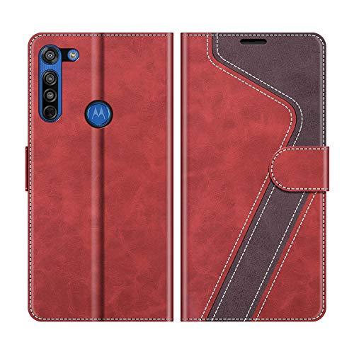 MOBESV Handyhülle für Motorola Moto G8 Hülle Leder, Motorola Moto G8 Klapphülle Handytasche Hülle für Motorola Moto G8 Handy Hüllen, Modisch Rot