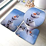 Frozen Olaf Colorful Non Slip Bathroom Rug Set 3 Piece Anti-Skid Bath Mat 15.7 Inches X 23.6 Inches   Type U Contour Rug   Toilet Lid Cover Mat