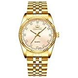 Classic Golden Stainless Steel Unisex Luxury Quartz Wrist Watches Gold