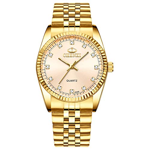 Classic Golden Stainless Steel Unisex Luxury Quartz Wrist Watches Gold