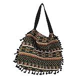 YMLT Bolso de hombro Vintage para mujer con borlas, bolso demanoretro étnico,bolsopopular para mujer,bolso de mujer tejido a rayas -Stripe_L40_W40 (cm)
