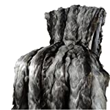Thomas Collection Exotic Gray Fox Faux Fur Throw Blanket & Bedspread - Gray Charcoal Black Fox Fur - Gray Fox Throw Blanket - Luxury Soft Fox Faux Fur, Made in USA, 16439