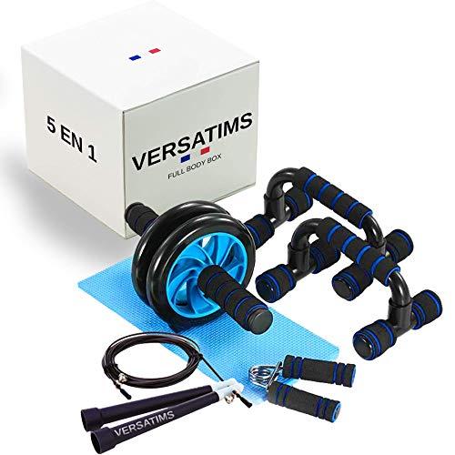 VerSATIMS - Kit per sollevamento pesi con maniglia e pompa per sollevamento pesi, con corda per saltare, per Crossfit MMA, Boxe, addominale Roller per esercizi di addominali e impugnatura anteriore del braccio, sollevamento pesi