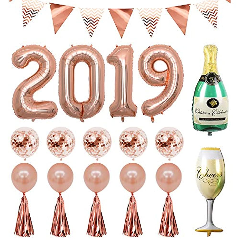 40inch Rose Gold 2019 Foil Balloon Champagne Bottle Goblet Confetti Balloons Decoration for New Year's Eve 2019 Graduation Party Supplies 2019 Anniversary Ceremony Supplies (Rose 2019) (Rose 2019)