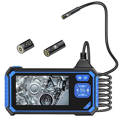 VOLADOR Zwei Linsen Industrielles Endoskop, 4,3 Zoll 8mm 1080P HD LCD Digitale Endoskopkamera, Doppellinse Inspektionskamera mit 6 Einstellbare LED-Leuchten, mit 2600mAh Lithium Batterie, 5M