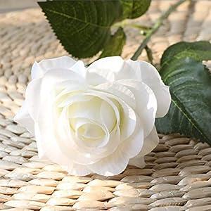 10pcs rose artificial flower, single stem fake silk floral bridal wedding bouquet, realistic blossom flora for home garden wedding party hotel office decorations silk flower arrangements