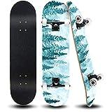 ANDRIMAX Skateboards-Complete Skateboards for Beginners Kids Boys Girls Adults Youth-Standard Skateboards 31''x8'' with 7 Lays Maple Deck Pro Skateboards, Longboard Skate Boards… (Tree)