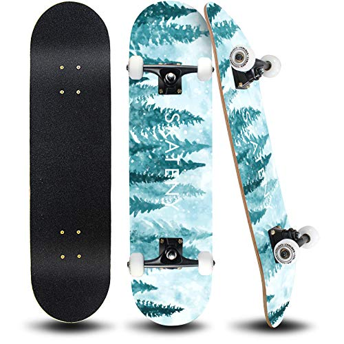 ANDRIMAX Skateboards-Complete Skateboards for Beginners Kids Boys Girls Adults Youth-Standard Skateboards 31''x8'' with 7 Lays Maple Deck Pro Skateboards, Longboard Skate Boards… (Blue Tree)