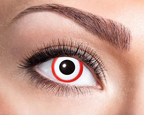 Zoelibat Farbige Kontaktlinsen in Markenqualität, Wochenlinsen, 2 Stück, BC 8.6 mm / DIA 14.5 mm, Saw, für Halloween, Fasching, Karneval, weiß/rot