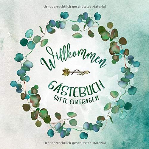 Gästebuch: Eukalyptus Kranz Neutral für Geburtstag, Jubiläum, Hochzeit, Konfirmation, Kommunion,...
