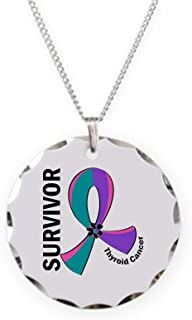 CafePress Thyroid Cancer Survivor 12 Charm Necklace with Round Pendant
