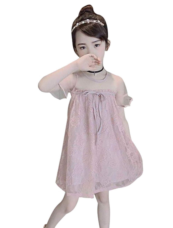 [ジンニュウ] 子供 ワンピース チュールワンピース 女の子 ふんわり フォーマルワンピース ドレス 入学式 発表会 卒業式 結婚式 半袖 レースワンピース 110-160cm