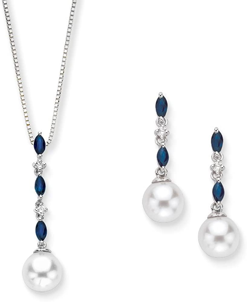 KATARINA Max 41% OFF Diamond Jewelry Set with Water Sapphire Fresh Inventory cleanup selling sale Pearl and