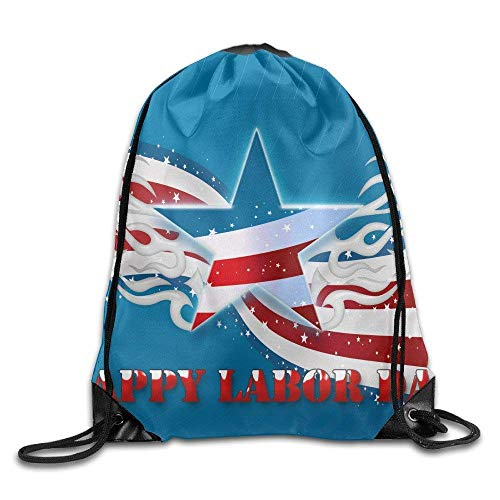Lawenp Happy Labor Day Basic 100% Polyester Drawstring Backpack Easily Wash Brilliant Colors Travel Bag 16x14 inch for Unisex
