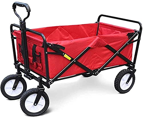 XQMY Garden Trailer, Pull Wagon, Collapsible Foldable Trolley Cart with Removable Canopy, Large Capacity for Outdoor BBQ Garden