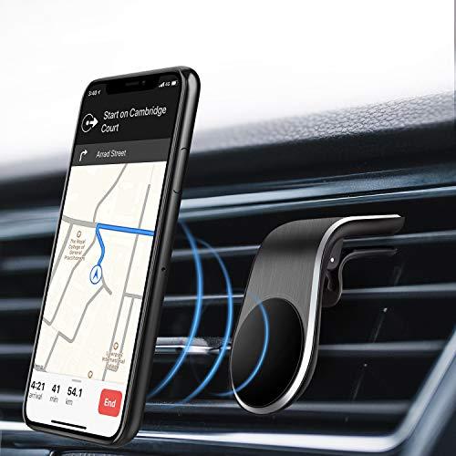 Eono by Amazon - Handyhalterung Auto, Magnet Handyhalter Auto, Typ L Lüftungs-Halterung für Horizontalen Luftauslass, Handyhalterung mit 5 Magnete für iPhone, Samsung, Alle Mobiltelefone - Schwarz