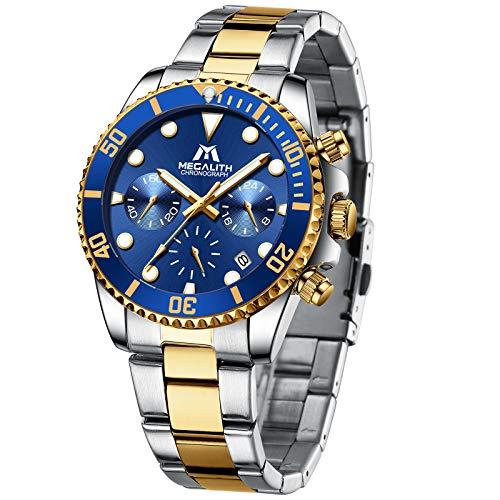 MEGALITH Herrenuhr Chronograph Edelstahl Armbanduhr Herren Gold Analog Wasserdicht Uhr Herren Blaues Zifferblatt Leuchtend Kalender Elegant Geschenk für Männer