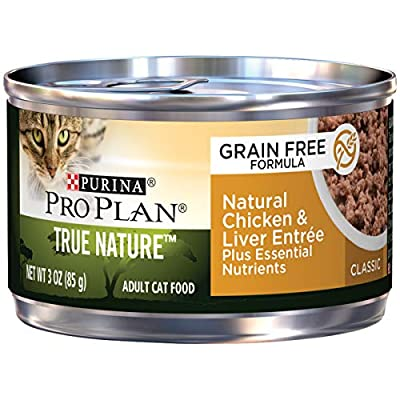 Purina Pro Plan Natural, Grain Free Pate Wet Cat Food, TRUE NATURE Chicken & Liver Entree - (24) 3 oz. Pull-Top Cans