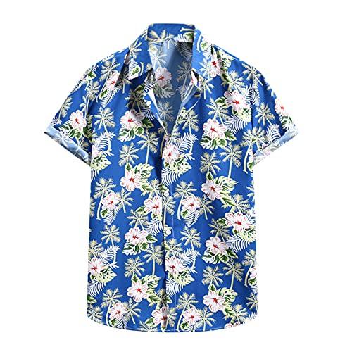 Camiseta de manga corta para hombre, diseño de flores hawaianas E_azul. M