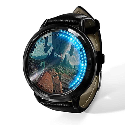 Attack on Titan Relojes De Pulsera para Hombre Pantalla TáCtil Led Binaria Cuarzo JaponéS Reloj De Pulsera Digital Resistente Al Agua Reloj De Pulsera Unisex-A
