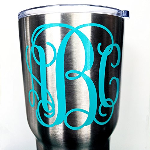 Custom Personalized Vine Monogram Initial Letter Sticker Decal Compatible with All Yeti Cups, Phone, Laptops, Tumblers, Car Windows, Boats, Notebooks (Many Sizes and Glitter Options Available)