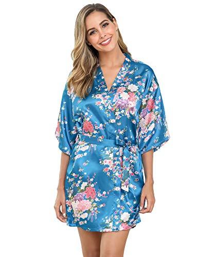 Aiboria Donna Pigiama Kimono, Camicia da Notte in Raso con Cintura,Elegante Vestaglia Scollo V Pigiama Kimono Floreale Esotici
