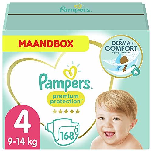 Pampers - Protección Premium - Pañales Tamaño 4 (9-14 kg) - Paquete de 1 mes (168 Pañales)