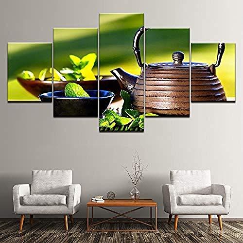 5 Aufeinanderfolgende Gemälde Wandkunst Hd Impressionen Dekor Wohnzimmer Moderne 5 Stück Wasserkocher Schüssel Grüne Blätter Gemälde Poster Modulare Leinwand Bilder Frameless