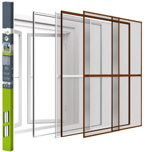 Insektenschutz Doppelschiebetür Fliegengitter Mückengitter | Aluminium | mit Klemmzarge | easy life | 230x240cm | braun